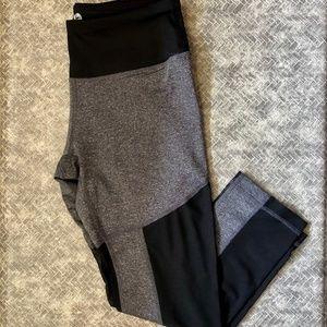 Gray Mesh Panel Athletic Cropped Leggings